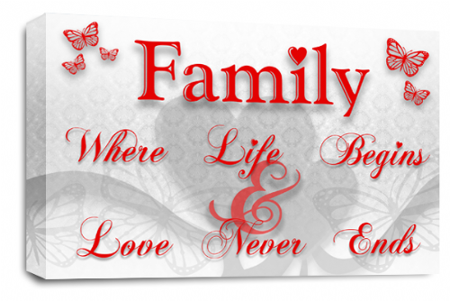Family Quote Wall Art Picture White Red Grey Love Print